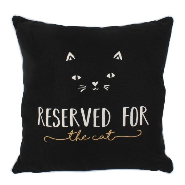 Black Reserved for the Cat Square Cushion